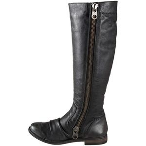STEVE MADDEN Black Leather Linderr 2-Way Zip Boot
